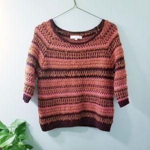 Loft Autumn Striped Fuzzy Orange Cozy Sweater 101